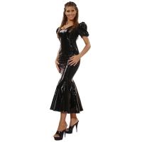 ledapol 1052 robe en vinyle - robe longues en verni fetish