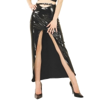 ledapol 1203-1 jupe longue en vinyle - jupe en verni fetish