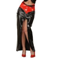 ledapol 1203-R jupe longue en vinyle - jupe en verni fetish