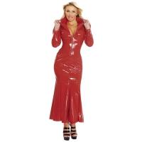 ledapol 1389 robe en vinyle - robe longues en verni fetish