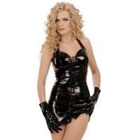 ledapol 1605 mini robe en vinyle - robe courtes en verni fetish
