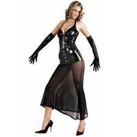 ledapol 1622 robe en vinyle - robe longues en verni fetish