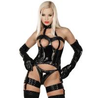 ledapol 1626 corsets en vinyle - corsets en verni fetish + porte jarretelles