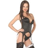 ledapol 3049 corset de poitrine complet en satin - corset de femme sexy