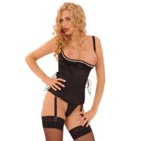 ledapol 3201 corset de poitrine complet en satin - corset de femme sexy