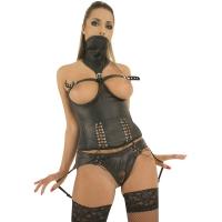 ledapol 5421 corset en cuir avec ouverture sur les seins
