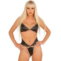 ledapol 5512 + 5513 soutien gorge en cuir + slip - 2 pièces en ensemble - lingerie sexy