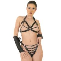ledapol 5604 + 5605 soutien gorge en cuir + slip - 2 pièces en ensemble - lingerie sexy