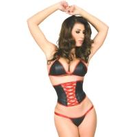 ledapol 5815 soutien gorge en cuir + slip - 2 pièces en ensemble - lingerie sexy
